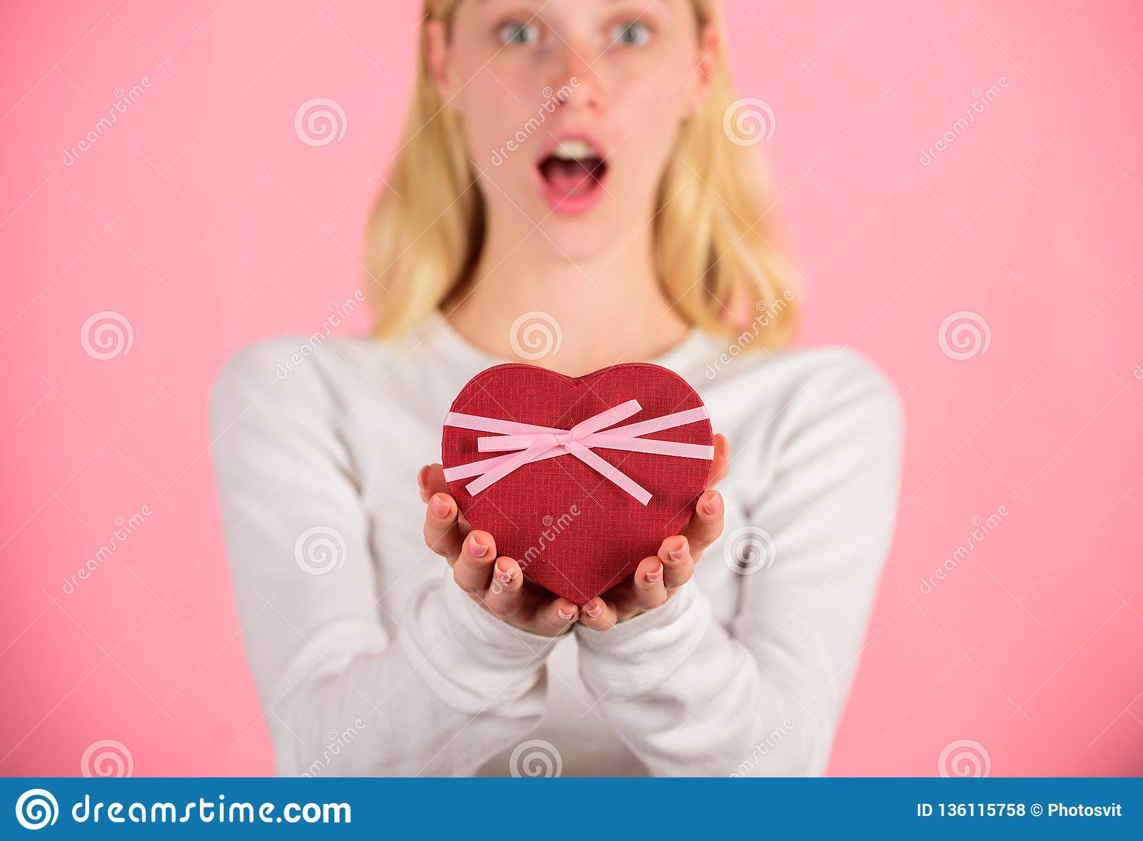 Female Hands Hold Gift Box Prepared Something Special For Him