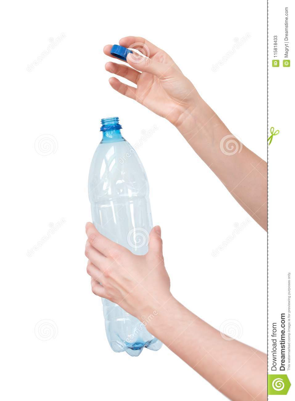Female hands holding empty plastic bottle isolated on white. Recyclable waste. Recycling, reuse, garbage disposal