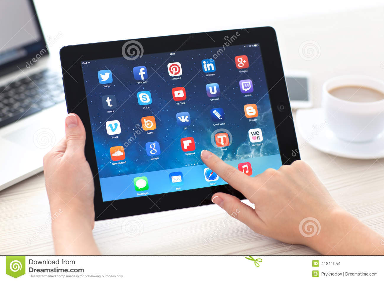 Female Hands Holding IPad With Social Media App On The ...