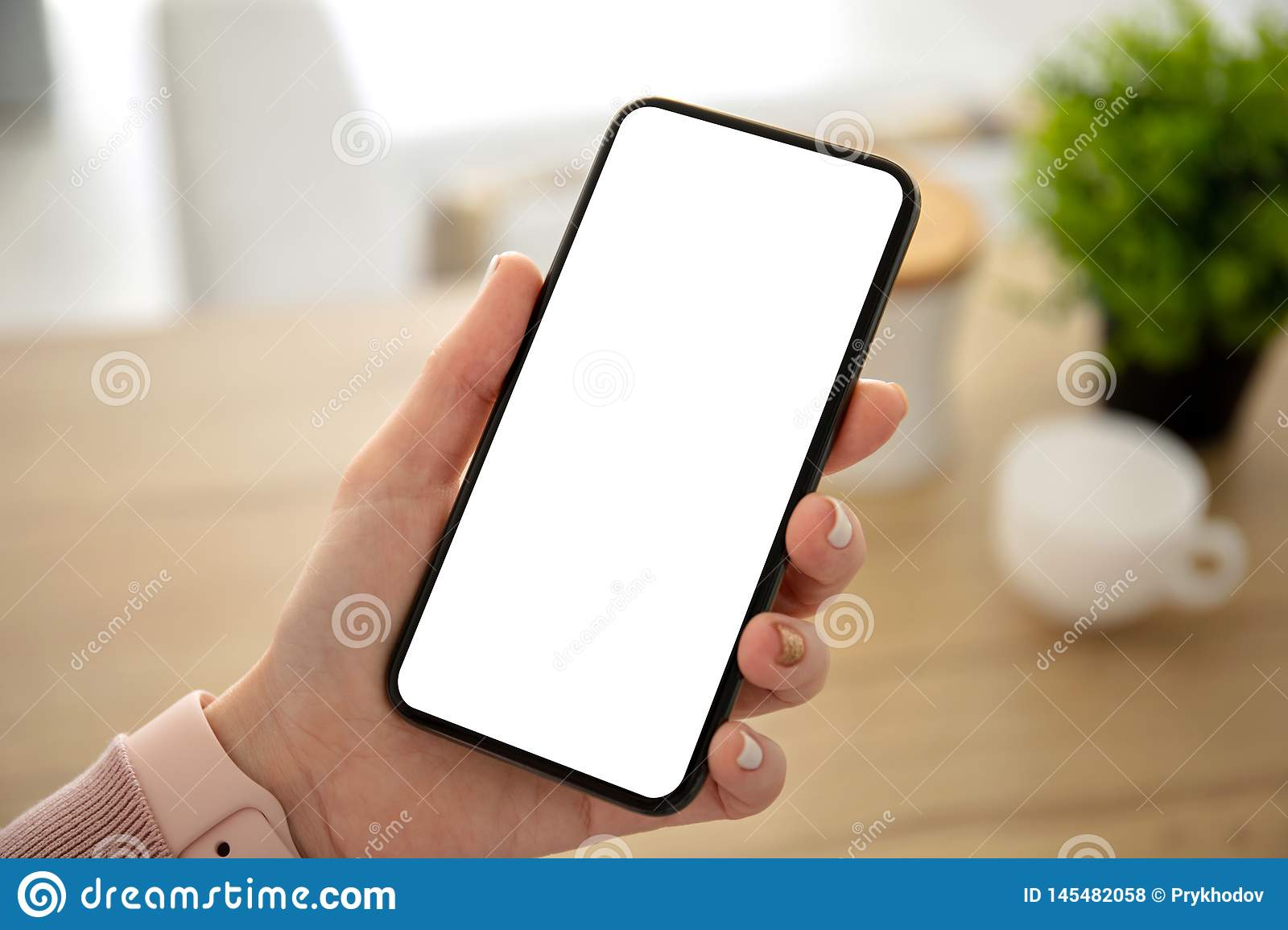 Female hands holding phone with isolated screen in the room