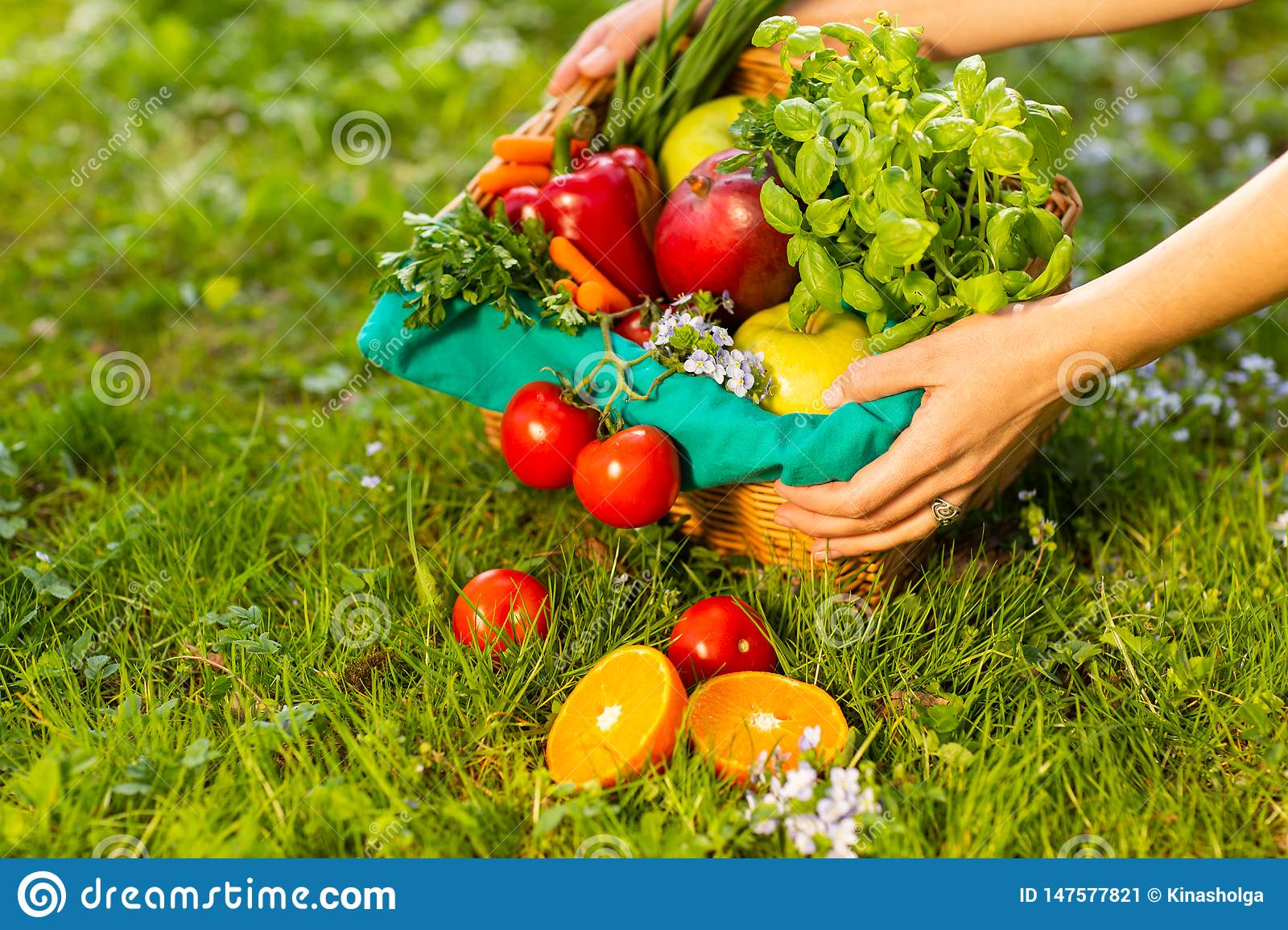 Female hands holding wicker basket with vegetables and fruits, close up