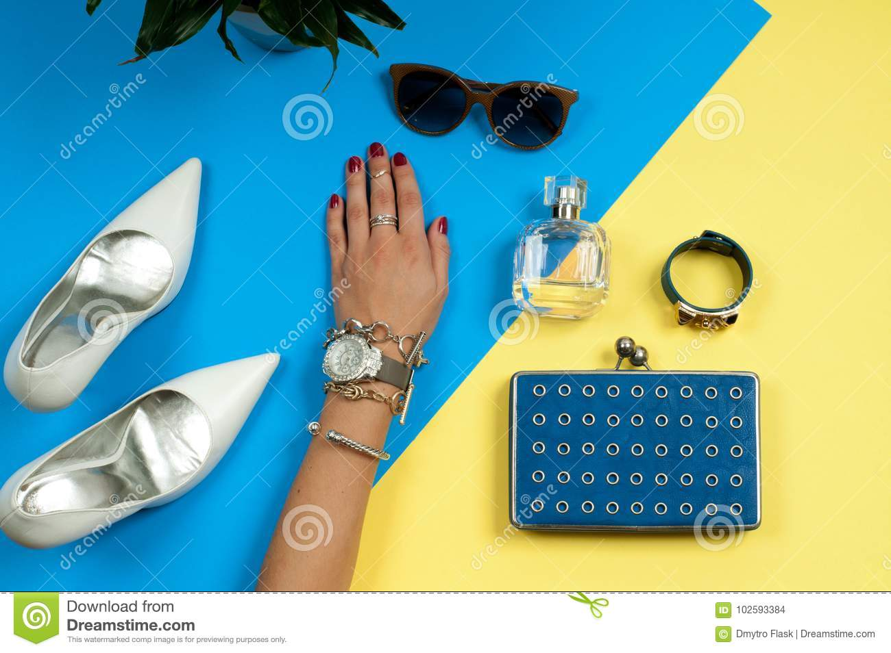 Female Hands With Jewelry. Fashion Accessories, Wrist Watches ...