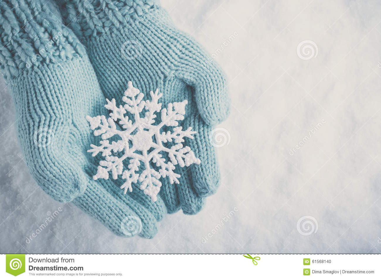 Female Hands In Light Teal Knitted Mittens With Sparkling Wonderful ...