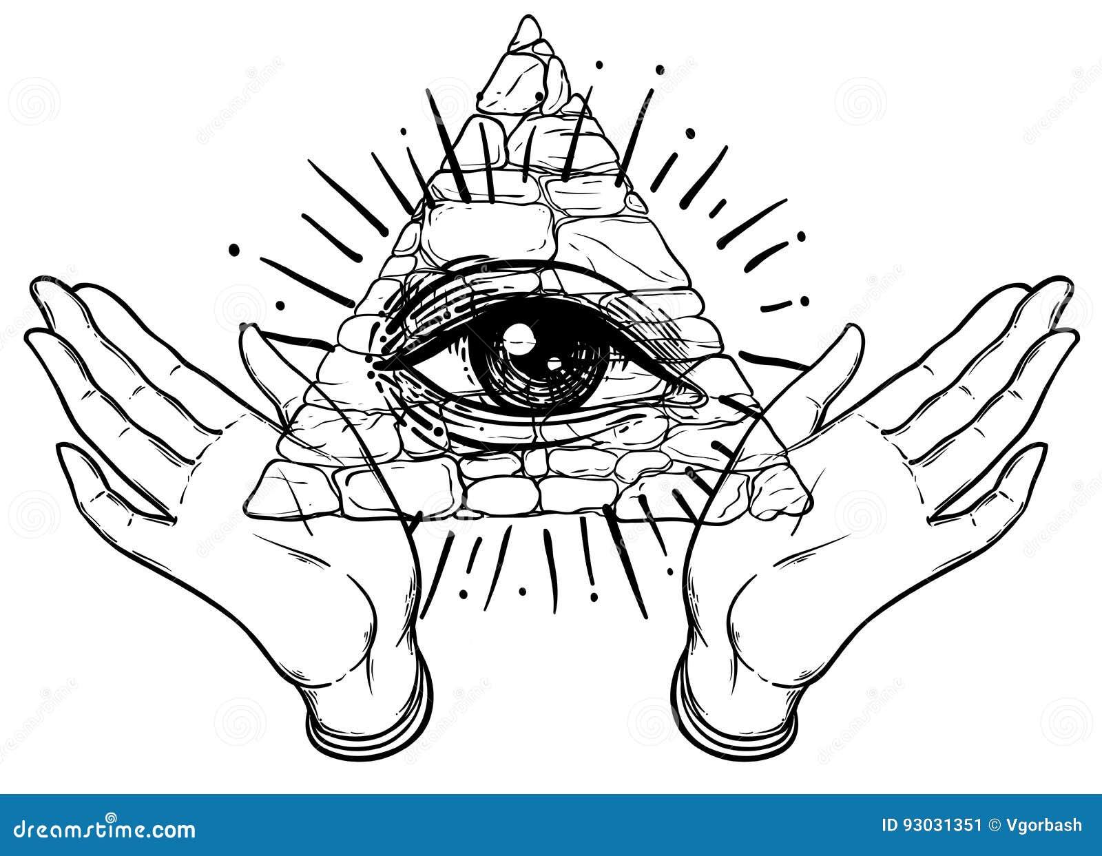 Masonic stock illustrations 4660 masonic stock illustrations female hands open around masonic symbol new world order hand d rawn buycottarizona Images