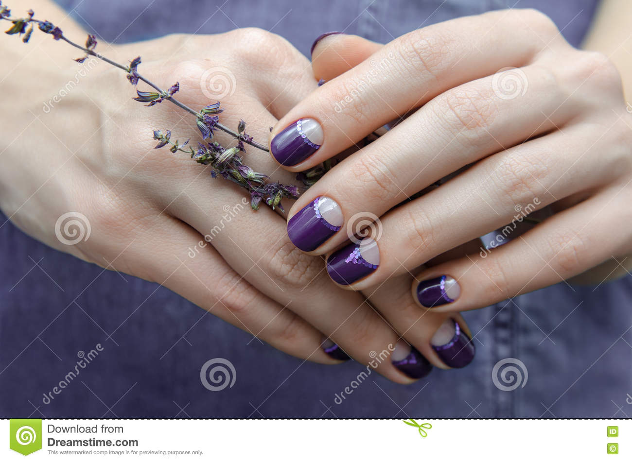 Female Hands With Purple Nail Design Stock Image Image Of Hand