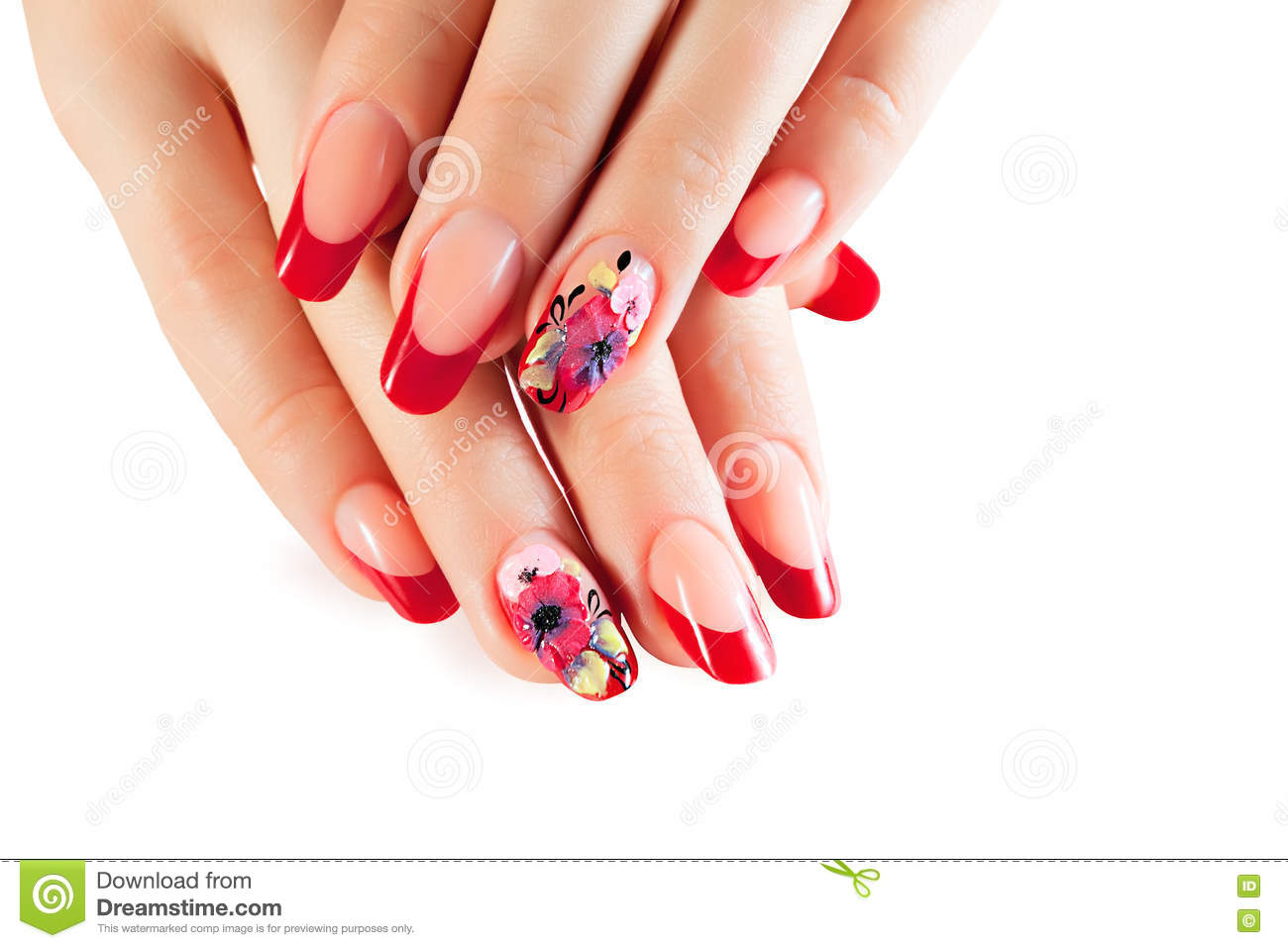 Female Hands With Red Nails And Flower Art Design Stock Photo