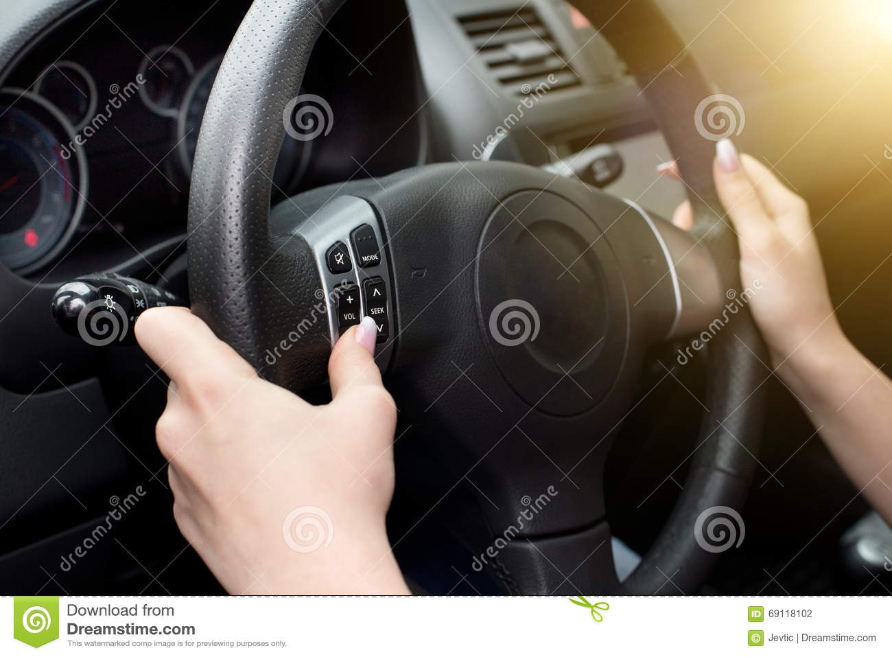 female hands on steering wheel stock photo image 69118102. Black Bedroom Furniture Sets. Home Design Ideas