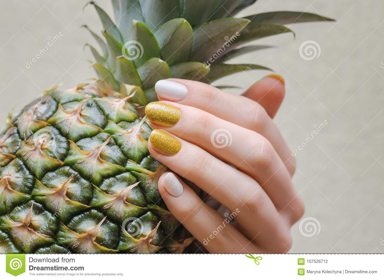 Female Hands With White And Gold Nail Design Stock Photo Image Of