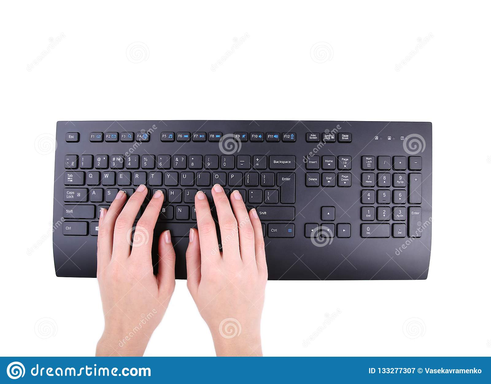 hand typing on white computer keyboard royalty free stock photo 18398811. Black Bedroom Furniture Sets. Home Design Ideas