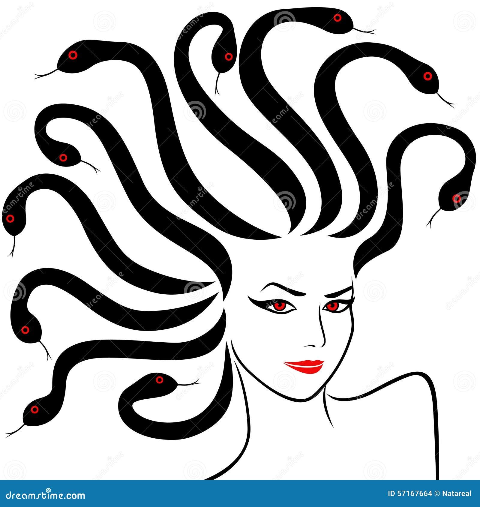 Female Head As A Medusa Gorgon Stock Vector Illustration