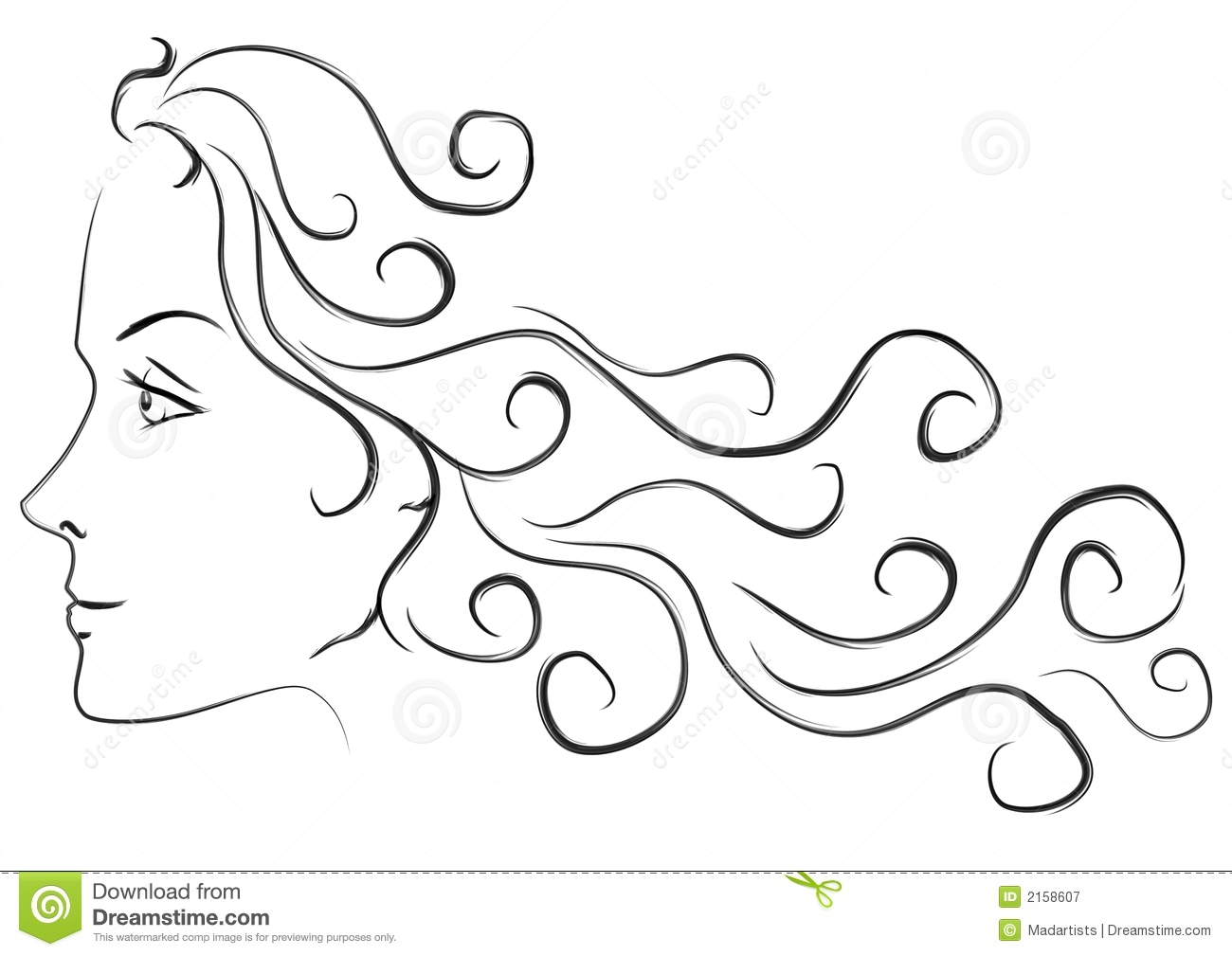 Line Drawing Face Profile : Female head long hair profile royalty free stock