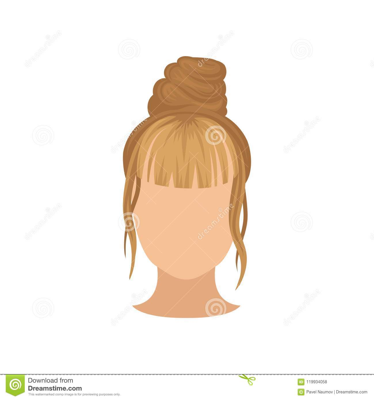 Female head with trendy hairstyle, top bun and long bang. Fashionable hairdo. Flat vector for poster of hairdressing