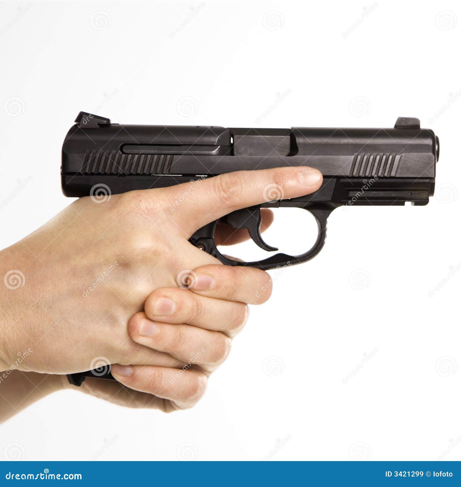 Female Holding Handgun. Royalty Free Stock Images - Image ...