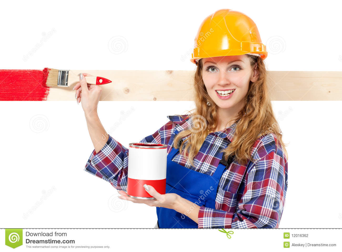Painter And Decorator Prices >> Female house painter stock photo. Image of occupation ...