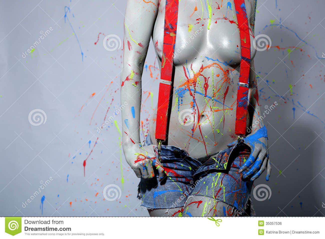 Female House Painter Splattered With Latex Paint Stock Image ...