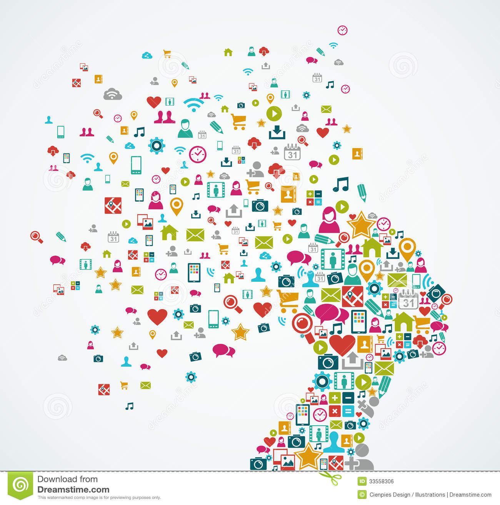 Female human head shape with social media icons de