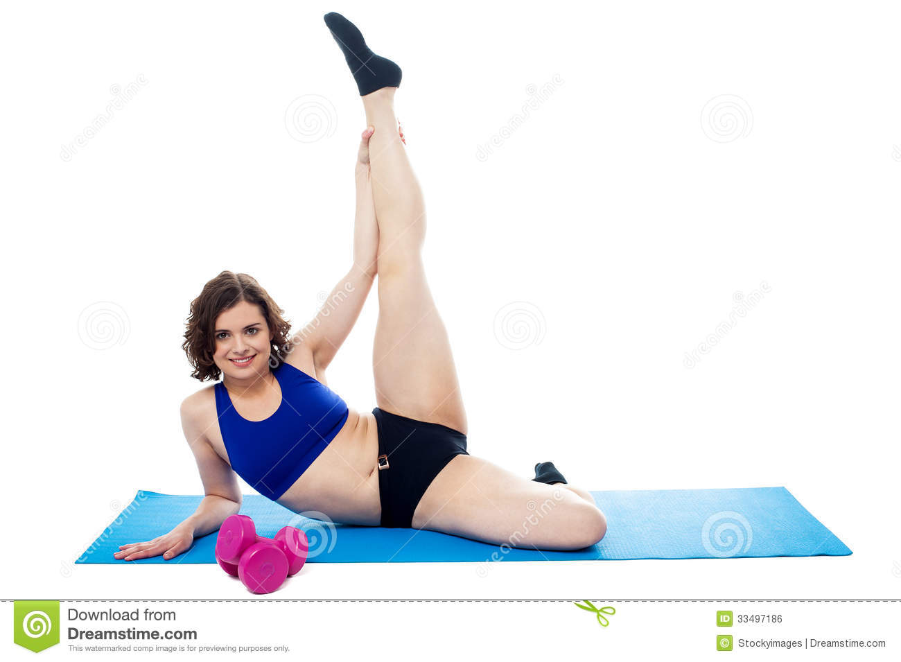 Female Instructor Doing Her Aerobic Routine Royalty Free