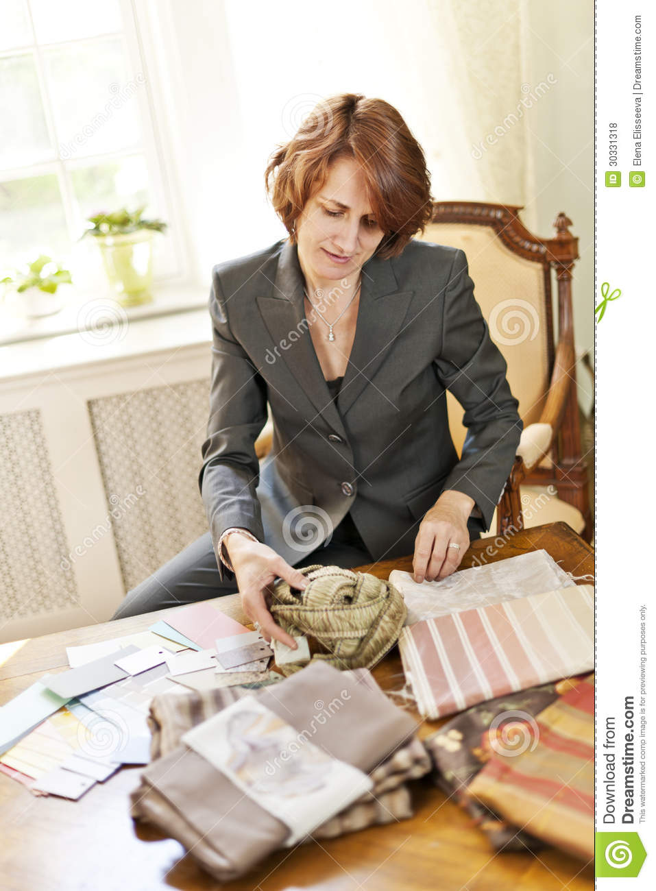 Female interior designer royalty free stock photos image Choosing an interior designer