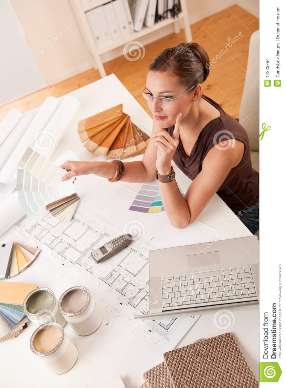 Female Interior Designer With Color Swatches Stock Images
