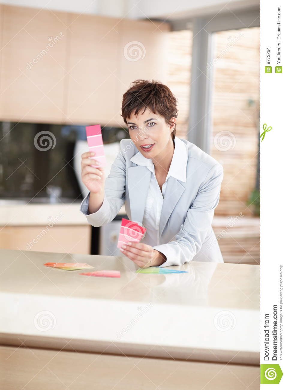 Stock Images Female Interior Designer Holding Swatches
