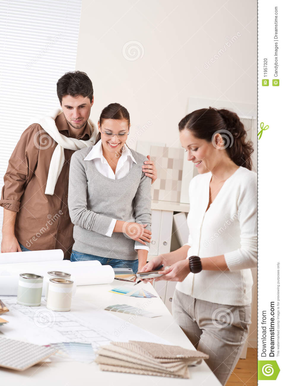 Interior Designers With Clients Female Interior Designer With Two Clients Stock Photo  Image