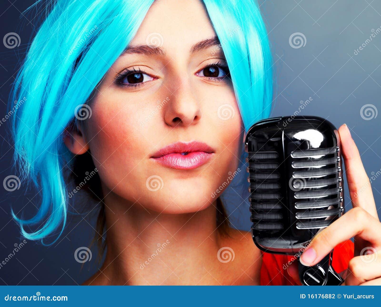 Female Jazz Singer Holding An Retro Microphone Stock Photo ...