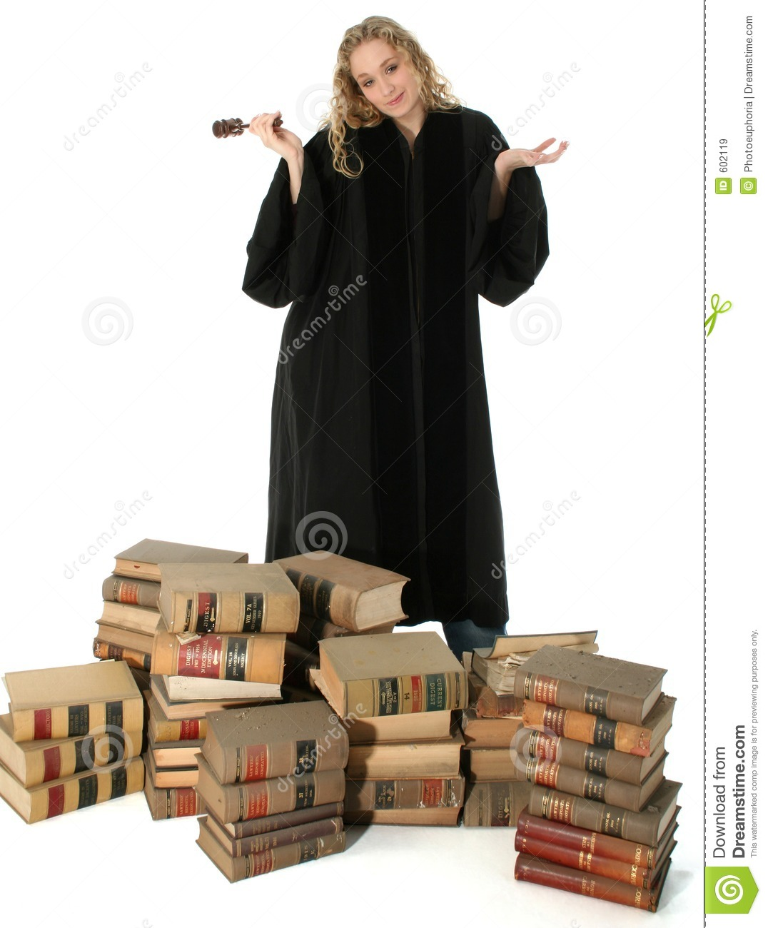 Female Judge And 70 Year Old Law Books Stock Image Image