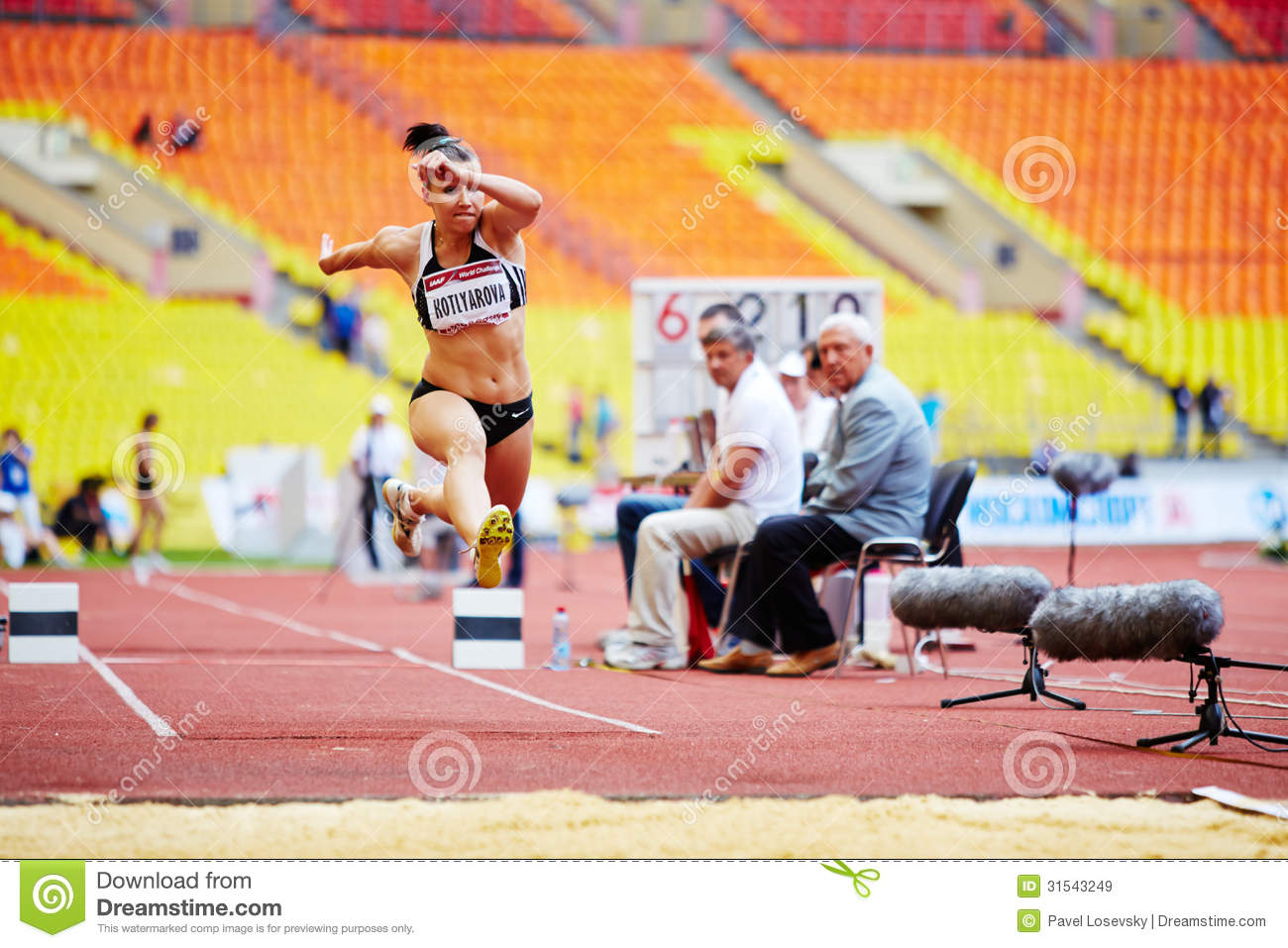 Female jumper in long jump place