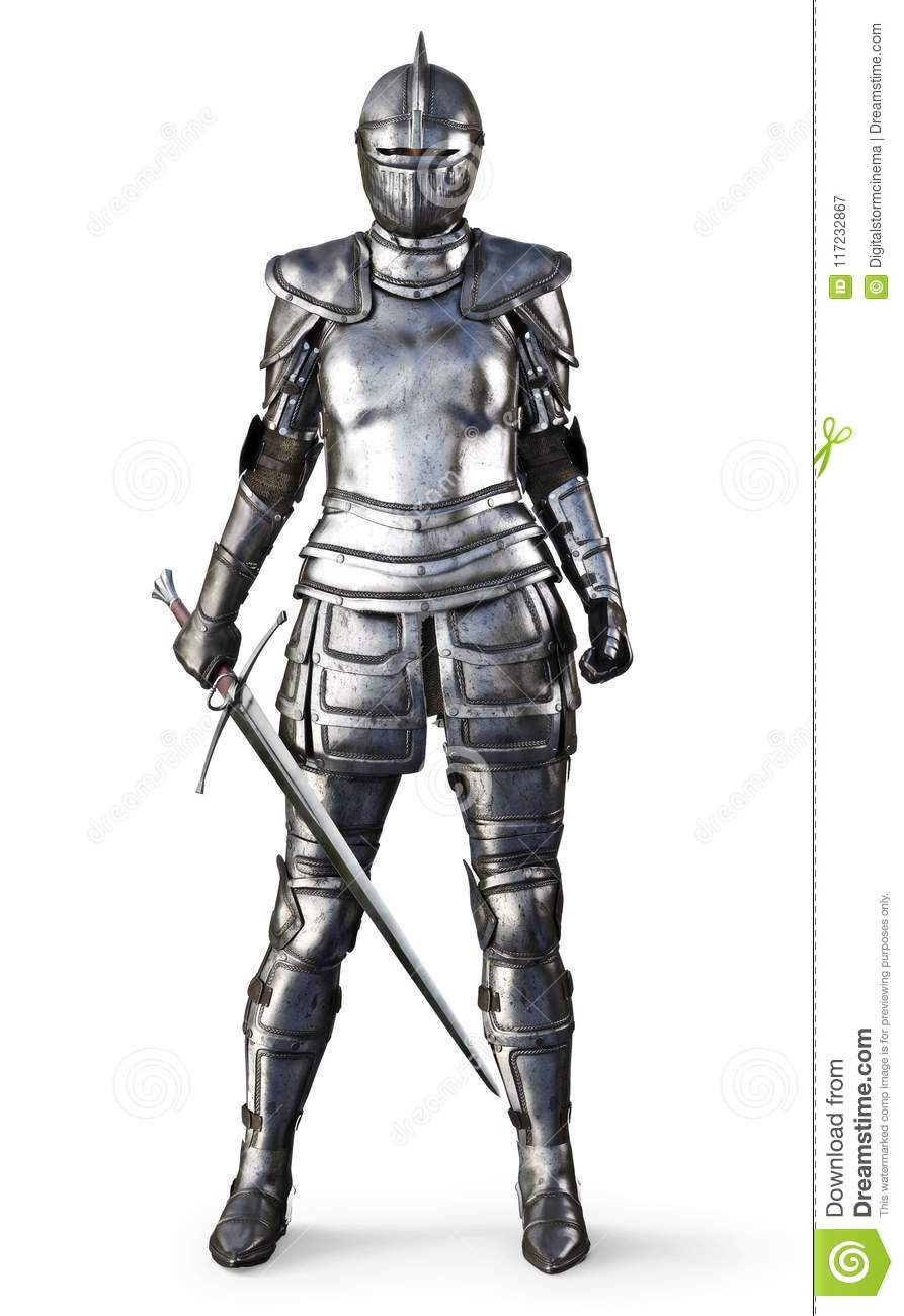 Female Knight On An Isolated White Background  Stock