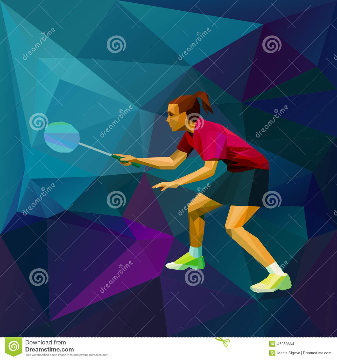 Female Lady Badminton Player Ready For Game Stock Vector ... Badminton Players Position