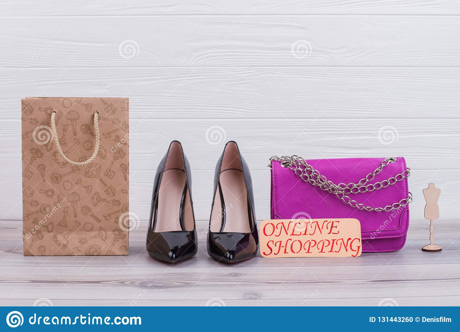 12559c7c4cc Female Leather Bag And Shoes. Stock Photo - Image of fashion ...