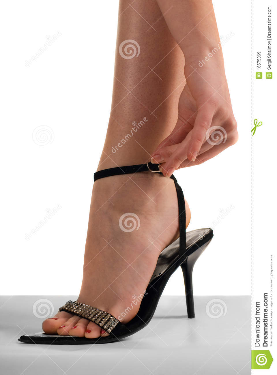 Female leg and hands