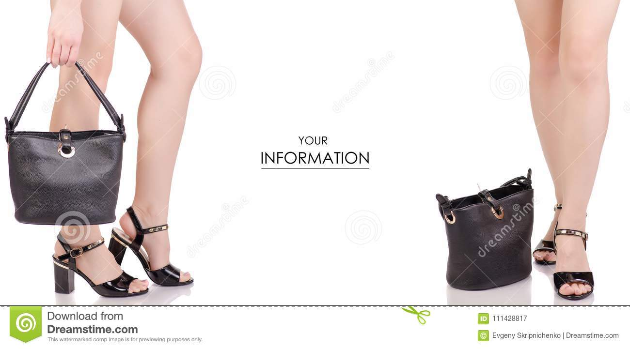 c892d1427 Female legs in black lacquered shoes sandals and black leather handbag beauty  fashion buy shop set