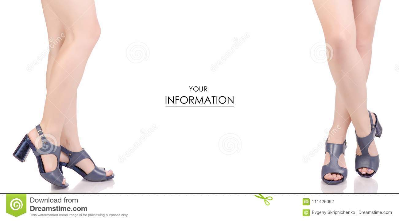 1b4037cb8 Female legs in blue leather shoes sandals beauty fashion buy shop set  pattern on white background isolation