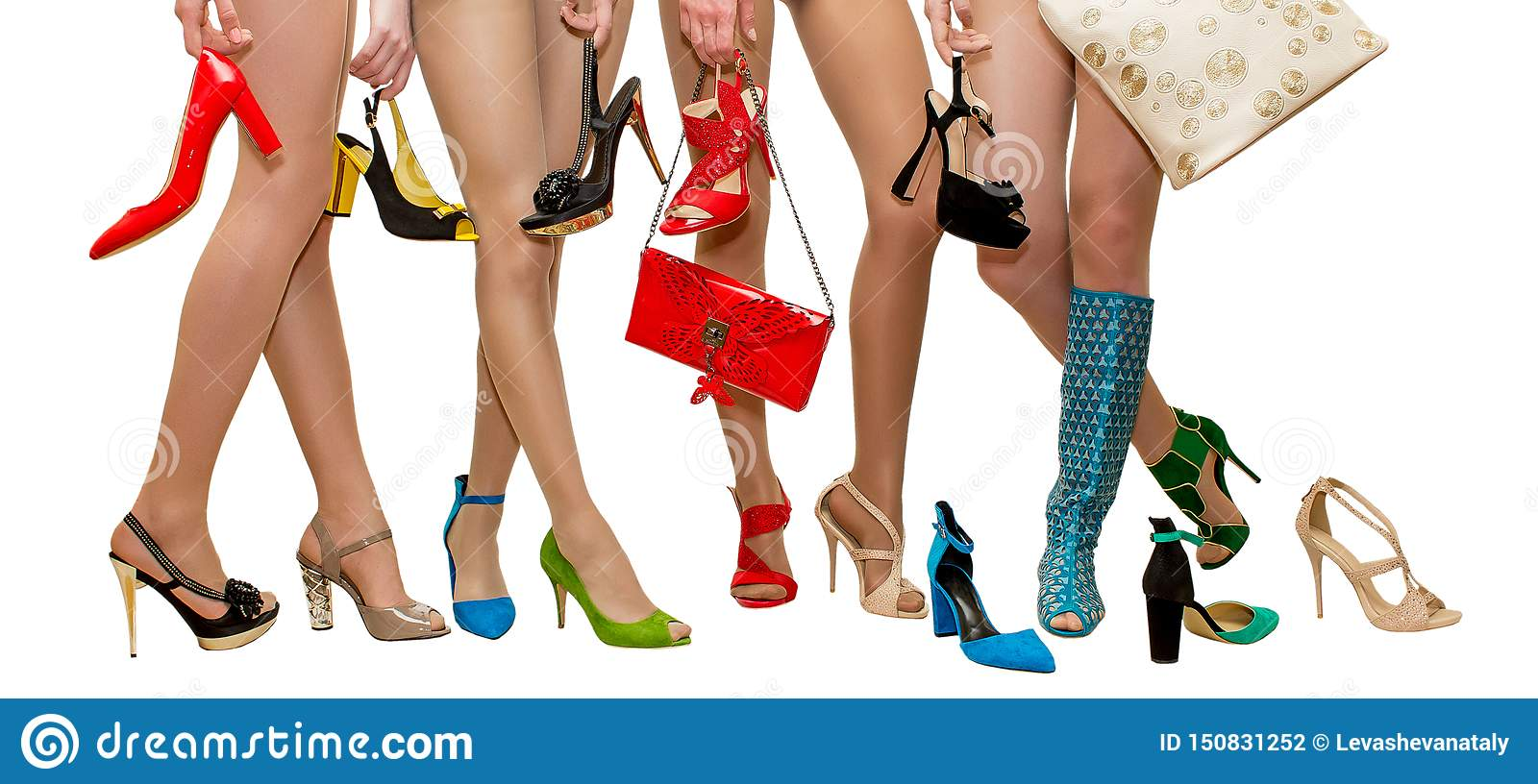 Female legs in different shoes for advertising salon shoes in the fashion magazine on a white background