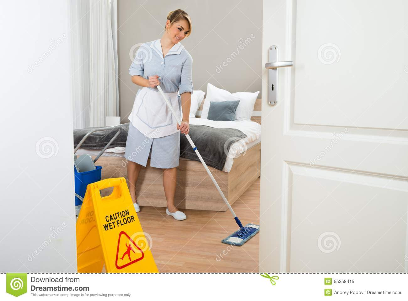 Female Maid Cleaning Floor Stock Photo Image 55358415