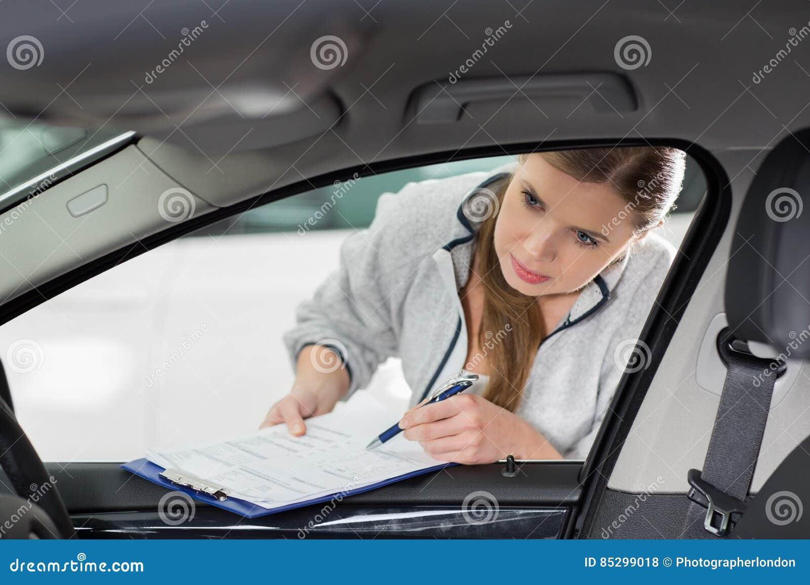 Car interior maintenance - Car Clipboard Engineer Female Interior Maintenance