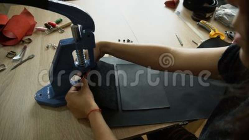Young Woman Making Bag At Sewing Circle Slow Motion Stock Video