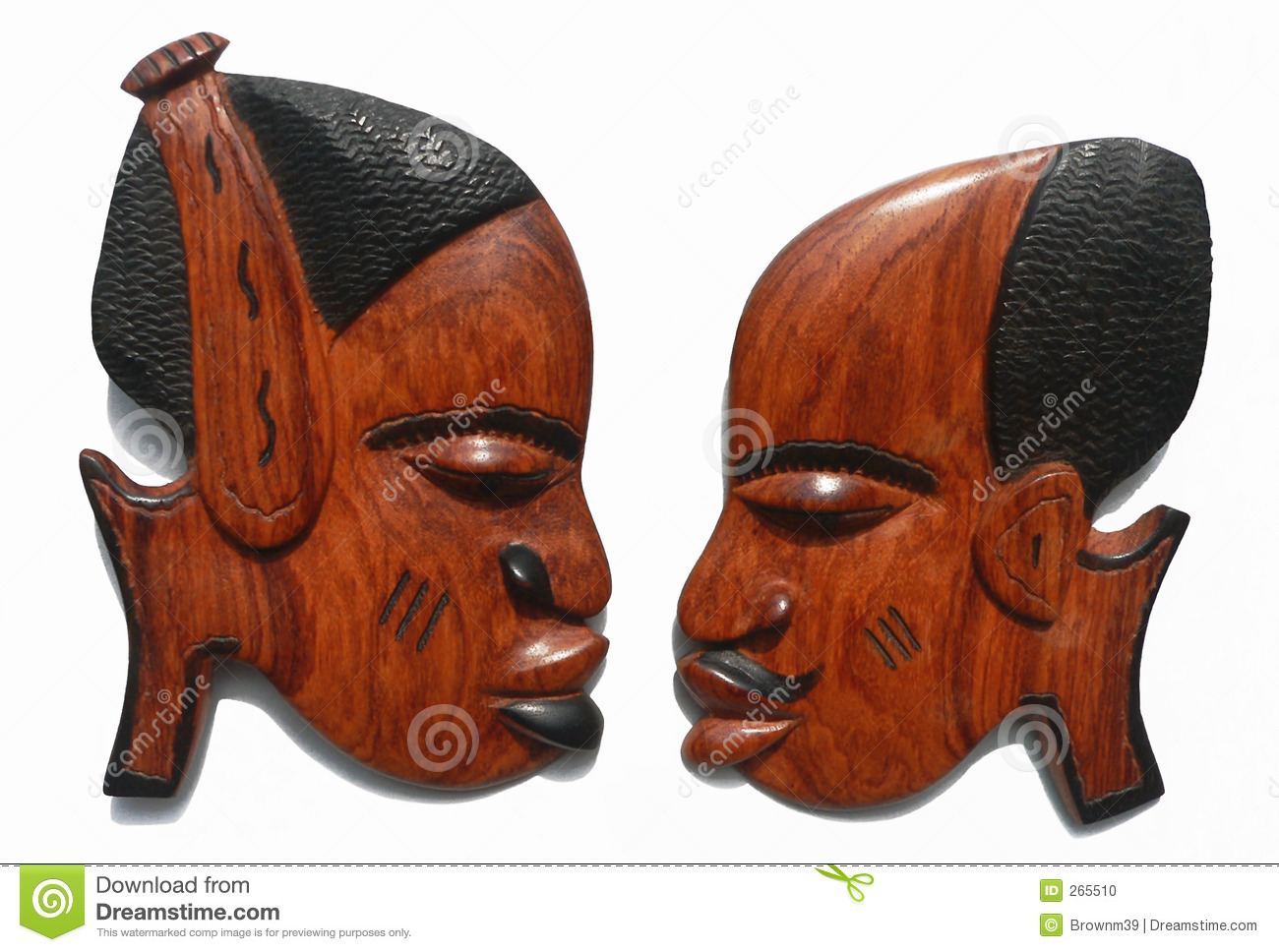 Female male african carvings stock photo image