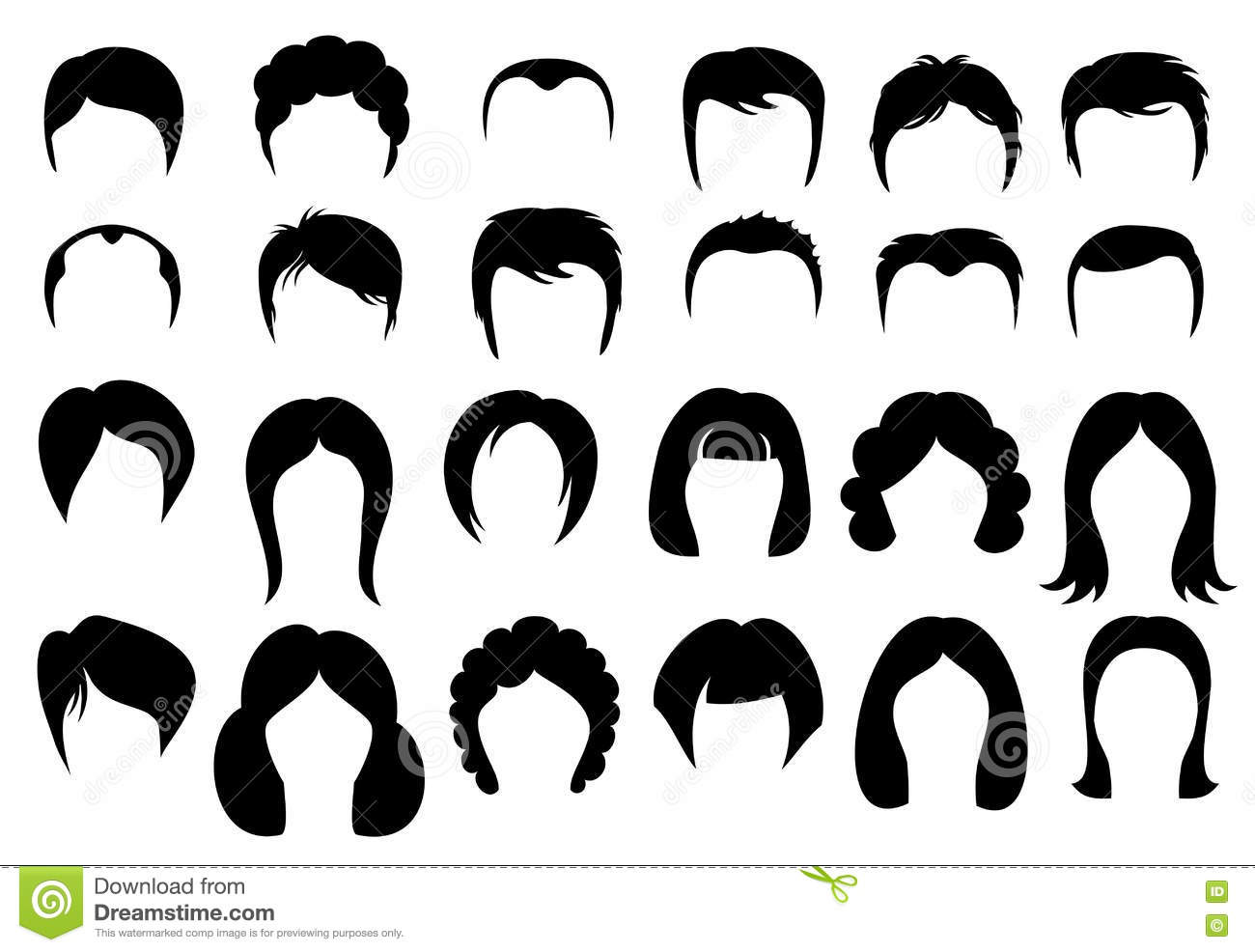 Hairstyle Vector: Female And Male Hair Vector Hairstyle Silhouette Icons