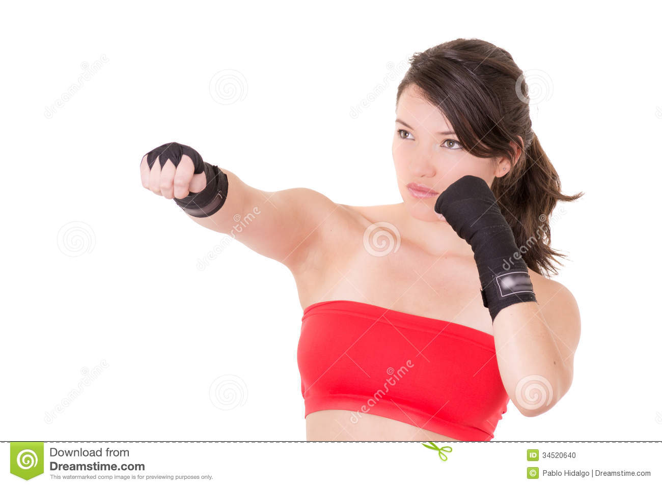 Female MMA fighter training white background. This image has attached ...