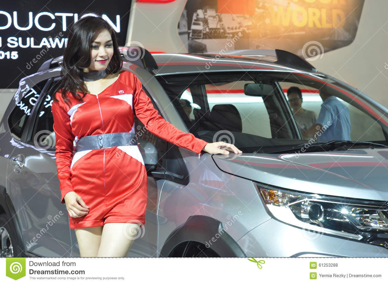 Download Female Model In Automotive Show Editorial Stock Photo