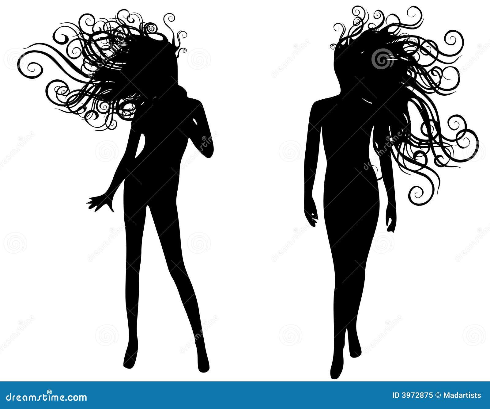 Female Model Silhouette Vectors Stock Vector