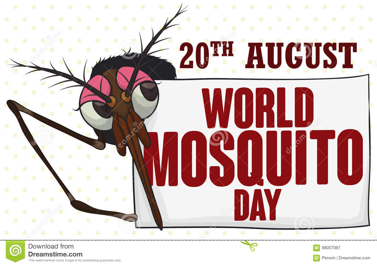 Download Female Mosquito Behind A Greeting Sign For World Mosquito Day, Vector Illustration Stock Vector - Illustration of celebration, dengue: 98057097