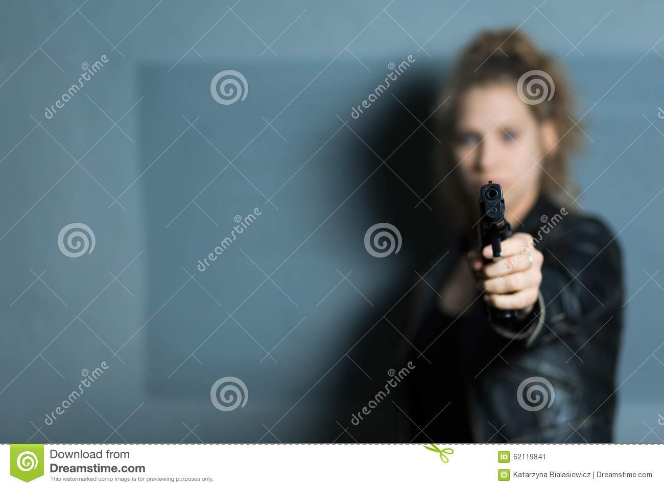 Female murderer with gun stock image. Image of caucasian ...