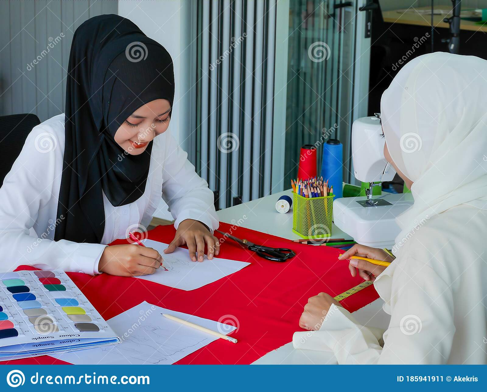 Female Muslim Fashion Designers Wearing Hijab Working On Dress Stylist Project In The Studio Work Stock Image Image Of Female Ethnicity 185941911