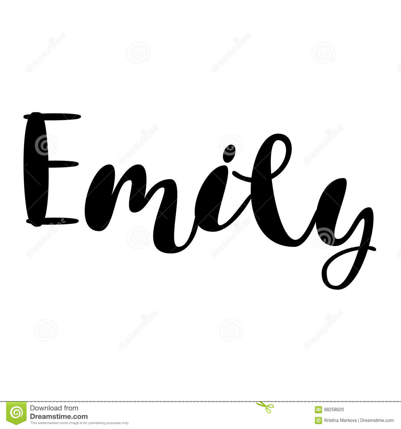 Female name emily lettering design handwritten