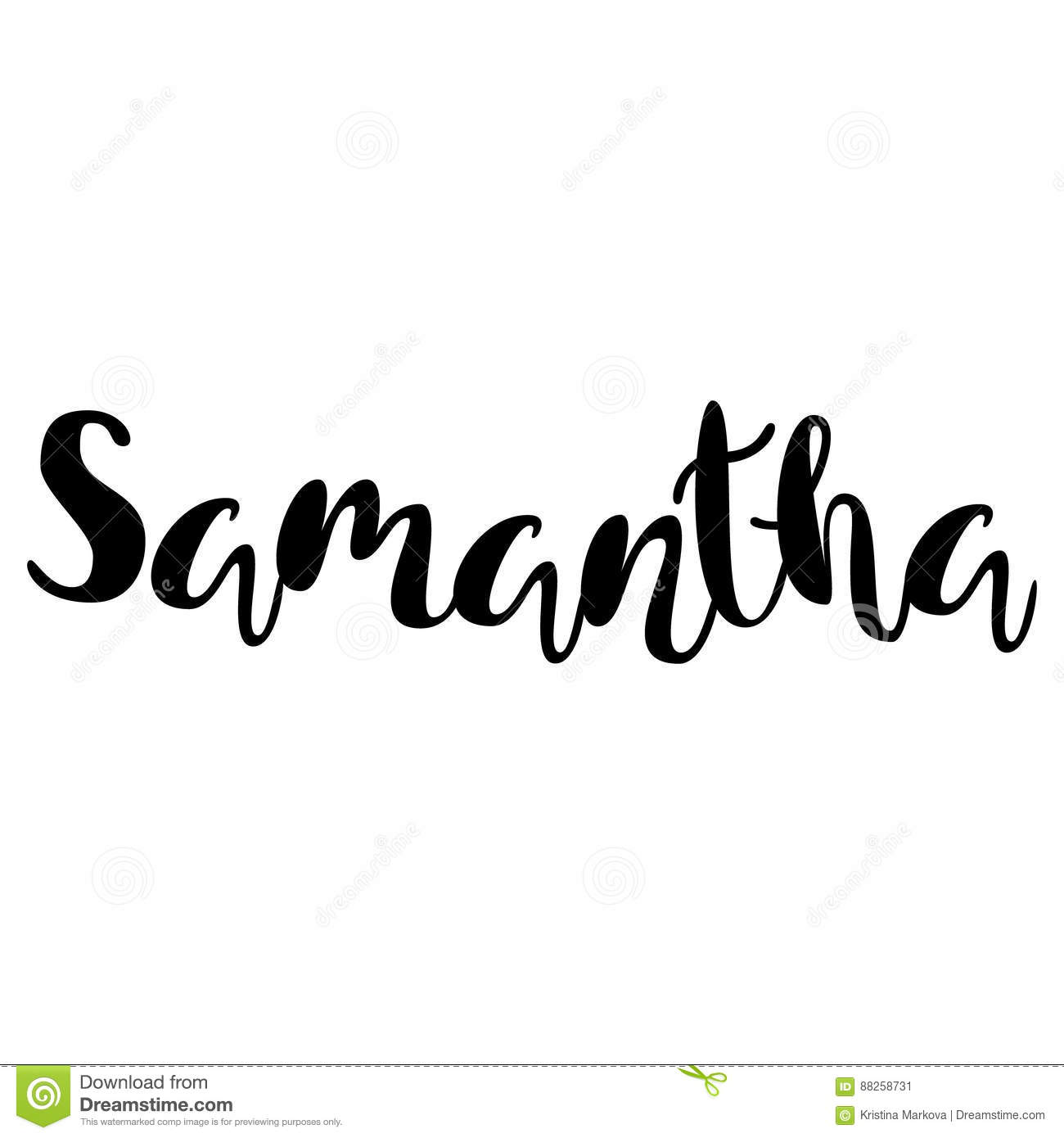 1eb42496b077 Female name - Samantha. Handwritten Lettering. Black. Modern Calligraphy.  More similar stock illustrations