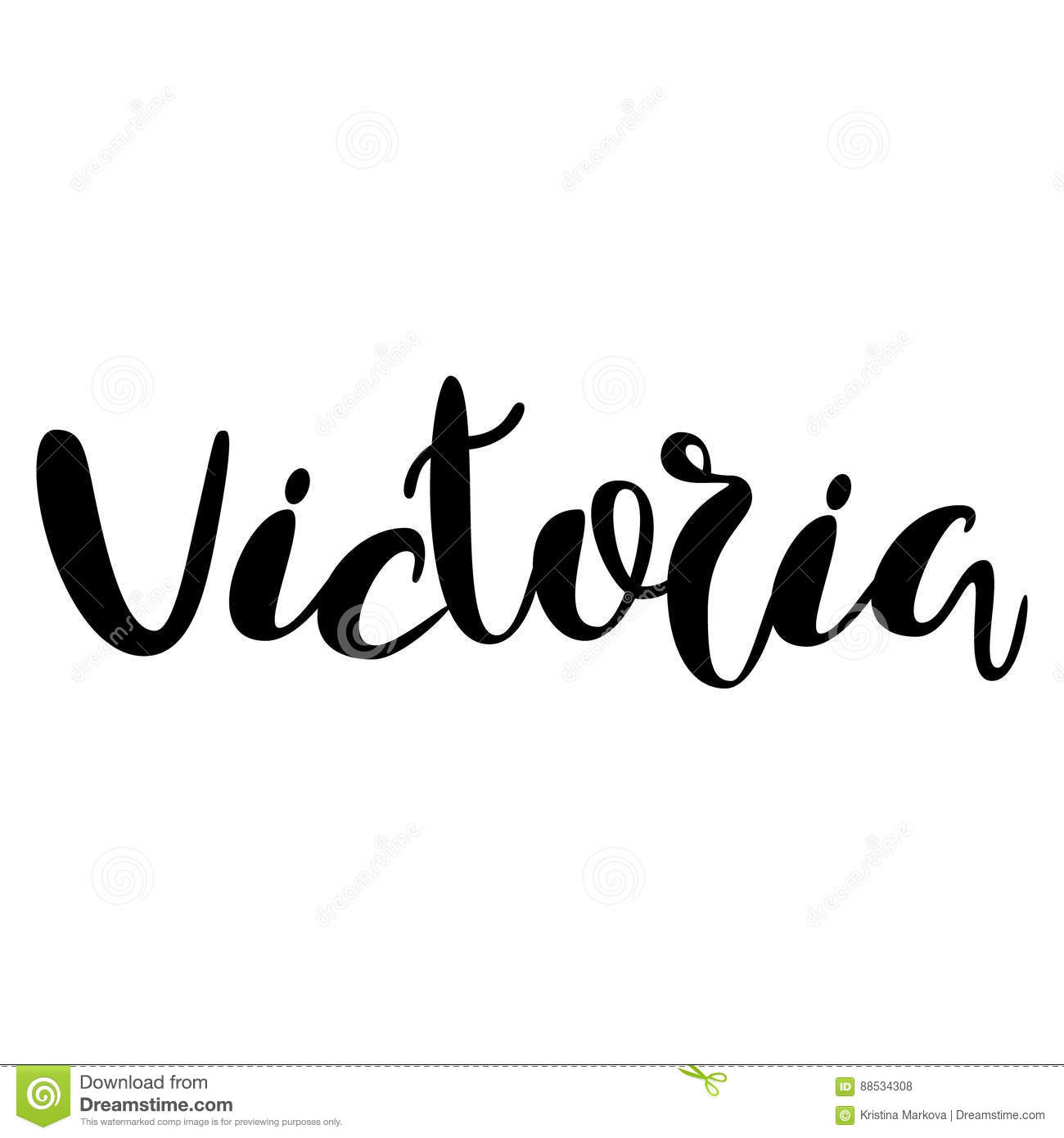 Female name victoria lettering design handwritten