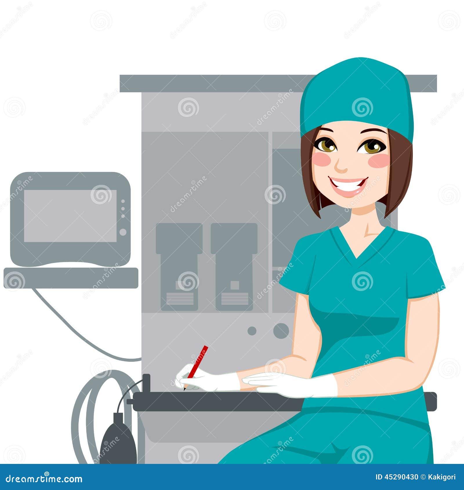 Female Nurse Writing Documents Stock Vector - Illustration ...